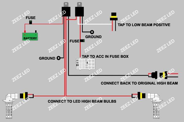 Details about LED High Beam Daytime Running Light DRL Conversion Kit w/  6000K 9005 Hi-B Bulbs