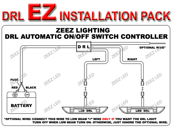 LED Daytime Running Light DRL Relay Harness Auto Control On/Off ...